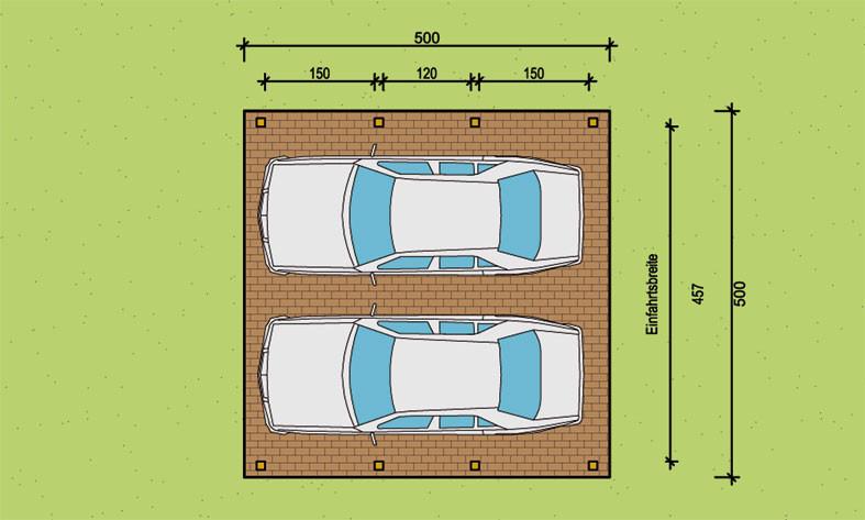 unsere standard doppelcarports in 500 cm breite