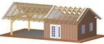 Nebengebäude, CNC-Abbund, sichtbare Konstruktion